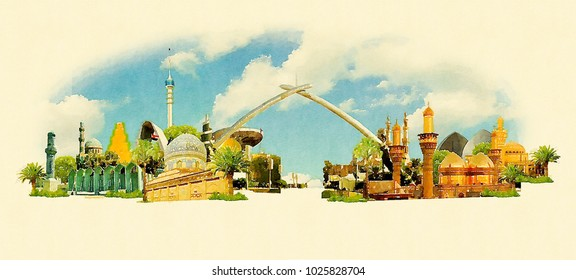 BAGHDAT city colored watercolor painting illustration