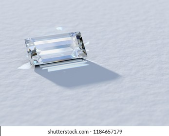 Baguette cut diamond close-up on white background, rear light, caustics rays. 3D illustration