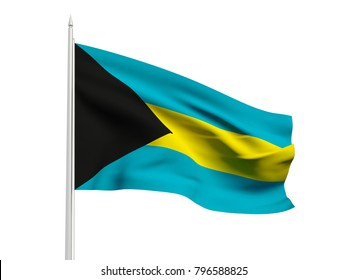 Bahamas flag floating in the wind with a White sky background. 3D illustration.