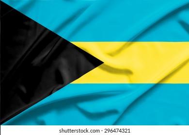 Bahamas flag on soft and smooth silk texture