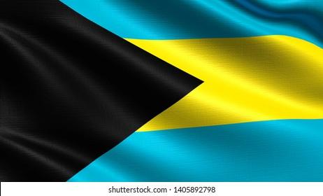 Bahamas flag, with waving fabric texture