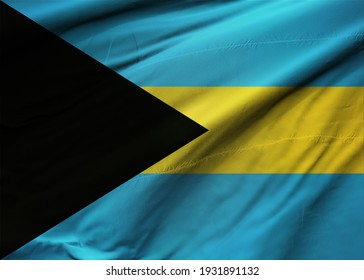 Bahamas flag waving with the wind, wide format, 3D illustration. 3D rendering.