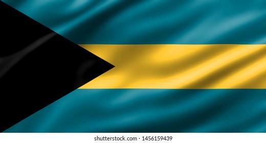 Bahamas National Flag 3d rendering waving design