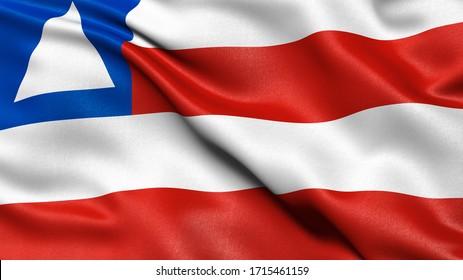 Bahia flag waving in the wind. Brazilian federate state flag.