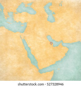 Bahrain (Bahraini flag) on the map of Middle East (Western Asia) in soft grunge and vintage style, like watercolor painting on old paper.