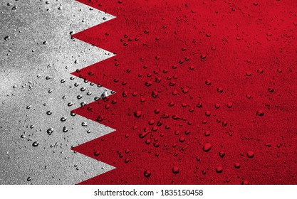 Bahrain flag with drops. 3D Illustration