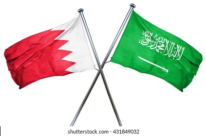 Bahrain flag with Saudi Arabia flag, 3D rendering