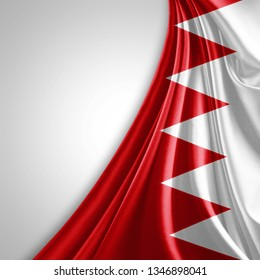 Bahrain flag of silk with copyspace for your text or images and White background-3D illustration
