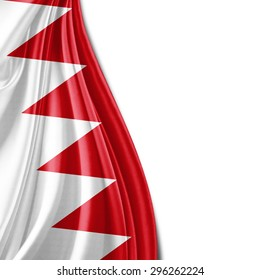 Bahrain flag  of silk with copyspace for your text or images and white background