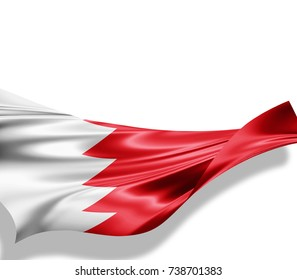Bahrain flag of silk with copyspace for your text or images and white background -3D illustration