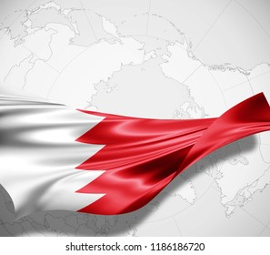 Bahrain flag of silk and world map background -3D illustration