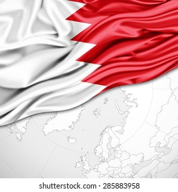 Bahrain flag of silk and world map background