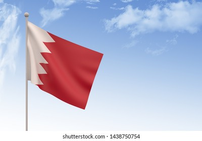 Bahrain Flag Waving with blue sky 3D illustration, Canada day concept 3d render?