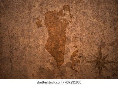 bahrain map on a old vintage crack paper background