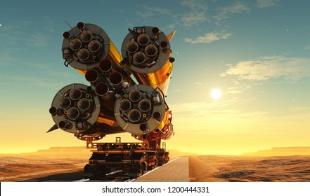 Baikonur with the spacecraft against the sky,3d render