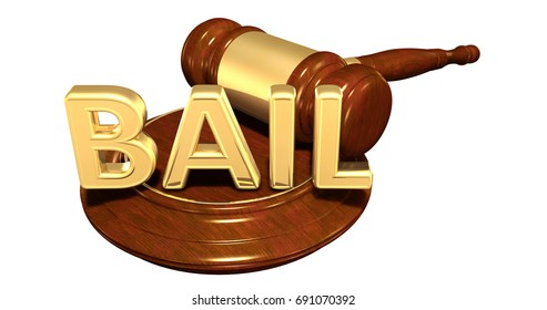 Bail Legal Gavel Concept 3D Illustration