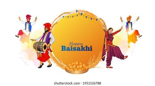 Baisakhi. Happy Baisakhi. Mask covid 19 corona virus and Vaisakhi festival background typography
