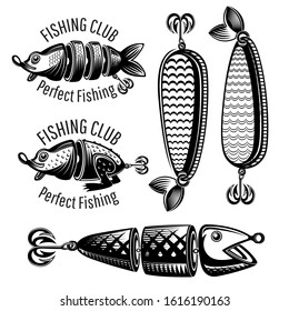 Bait fishes and frog on white in engraving style. Label for fishing or fishing shop on white