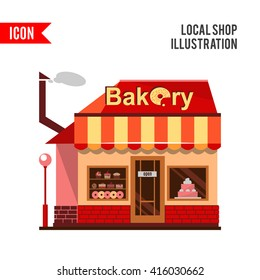 Bakery building with cakes, donuts and pies in the shop windows. Illustration of a building selling baked goods and pastry. flat style design icon isolated on white background.