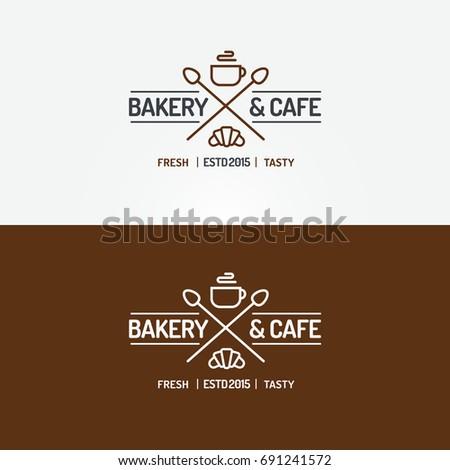 Bakery Cafe Logo Set Line Style Stockillustration 691241572