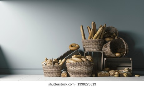 Bakery products in wicker and wooden baskets. Wicker basket with assorted baking products. 3d illustration