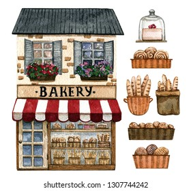 Bakery shop and baked goods isolated on white.  Watercolor hand painted illustration.