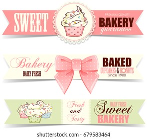 Bakery shop banners with cupcakes