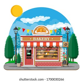 Bakery shop building facade with signboard. Baking store, cafe, bread, pastry and dessert shop. Showcases with bread, cake. City park, street lamp, trees. Market, supermarket. Flat illustration