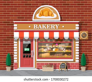 Bakery shop building facade with signboard. Baking store, cafe, bread, pastry and dessert shop. Showcases with various bread and cakes products. Market or supermarket. Flat illustration