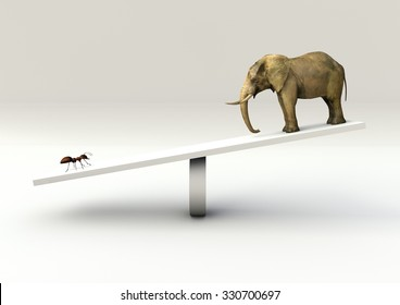 Balance  Concept of an Ant and an Elephant on a Seesaw