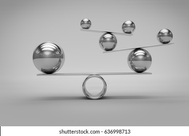 Balance Concept with Chrome Balls,3d render