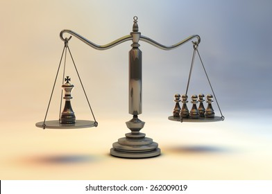 Balance with King-five chess peons. 3d illustration on colorful gradient background.