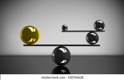 Balance the perfect system, lifestyle and business concept with balanced balls of different sizes 3D illustration.