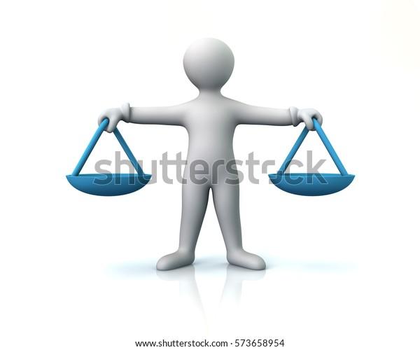 Balance-Skala für die menschliche Gerechtigkeit Konzept 3Illustration auf weißem Hintergrund