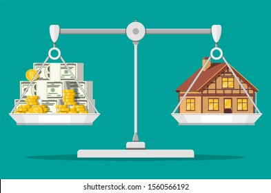 Balance scales with private house and money. Buying a home. Real estate. Suburban wooden house, dollar stacks and gold coins. illustration in flat style