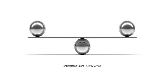 Balance, teamwork concept. Silver balls balanced on a scale beam isolated against white background, banner. 3d illustration