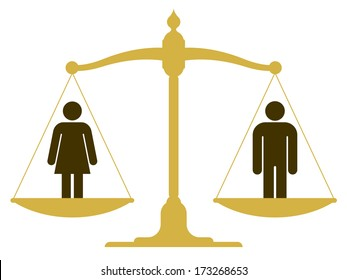 Balanced old fashioned pan scale with a man and woman showing the equality of the sexes illustration