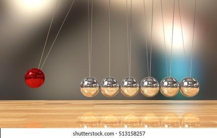 Balancing ball Newton's cradle pendulum, 3D Rendering