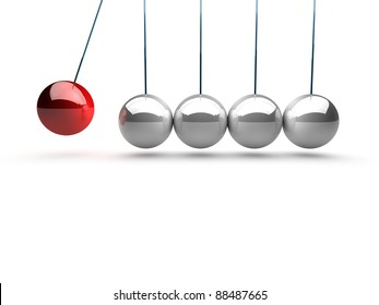 balancing balls newtons cradle over white background
