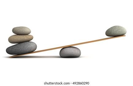 balancing stones concept   3d illustration
