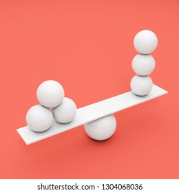 Balancing white ball on coral background. 3D illustration.