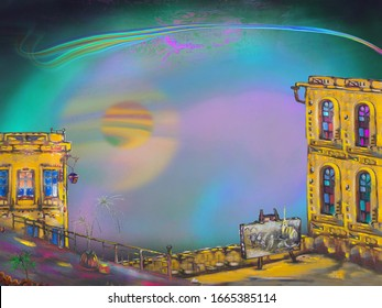 A balcony for the artist and a surreal flicker with a night rainbow in the background. Surreal artwork.