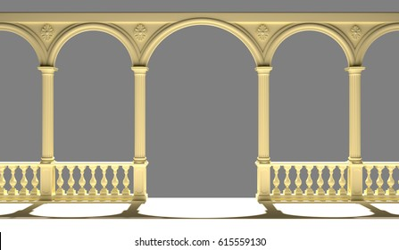 Balcony with balustrade, columns, arches and stucco, 3D rendering