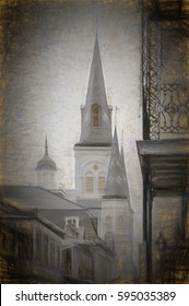 Balcony and Cathedral Spires French Quarter This is a digital charcoal on gold paper of a wrought iron balcony and the steeple and spires of St. Louis Cathedral in New Orleans French Quarter.