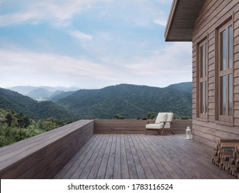 The balcony of the small house on the mountain in the evening House made of wood With a white cloth chair Overlooking the panoramic nature,3d render