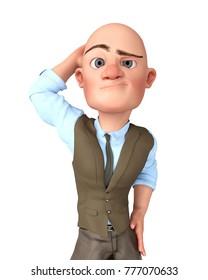 bald businessman 3d illustration