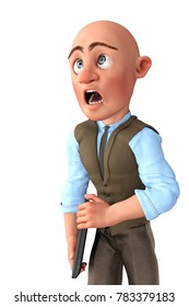 bald businessman in what is that 3d illustration