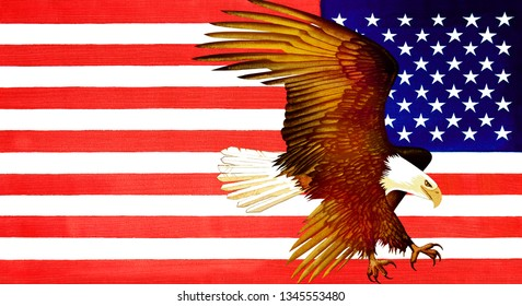 Bald Eagle and American Flag - Oil on Canvas
