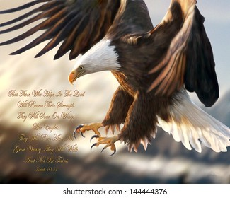Bald Eagle Religious Painting