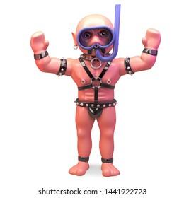 Bald gay man in bondage fetish outfit wearing a snorkel diving mask, 3d illustration render
